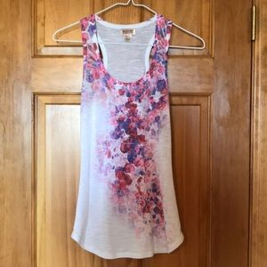 Tops - White Tank Top with Pink & Purple Flowers